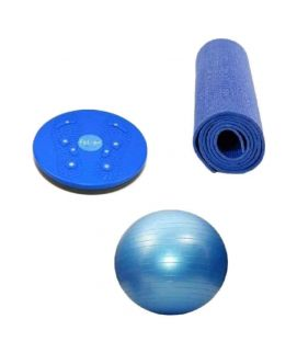 Gym Solution Bundle Gym Ball, Yoga Mat & Waist Twisting Disc Blue