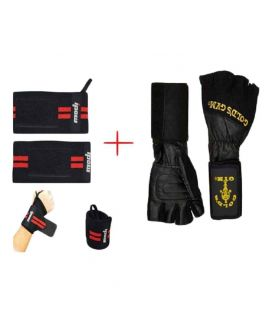 Pack of 2 Gym Wrist Wrap Lifting Gloves Weight Lifting Gym Strap Black