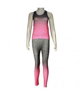 2 Piece Stretchy Training Suit Pink & Grey