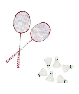 Sports City Sportica Pack of 8 Badminton Rackets with Yonex MAVIS Badminton Shuttle