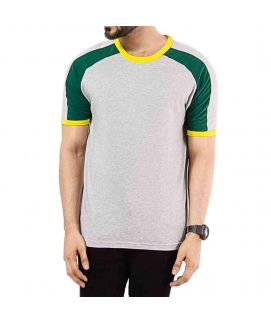 White & Yellow Jersey Round Neck Raglan T Shirt