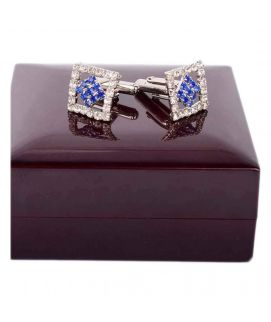 Silver And Blue Kite Crystal Cufflinks For Men