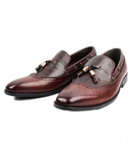 Men's YNG Red Wine Leather Oxford Shoes