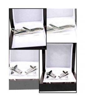 YNG Pack of 2 Plane Silver Stainless Steel Cufflinks