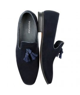 Navy Blue Suede Slipons for Men