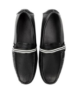 Men's White Straps Black YNG Loafers