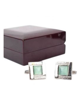 Silver With Blue Stoes Cufflinks