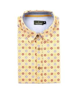 Yellow Cotton Printed Shirt For Men