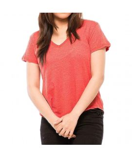 Z.E.A.L Red Cotton Tshirt For Women