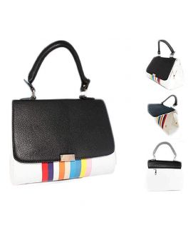 Black Multi Color Stripes Handbags for Womens