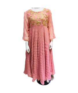 Women's Leave Embroidered Baby Pink Kurti