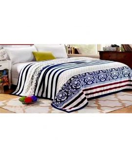Fleece Blanket White And Blue