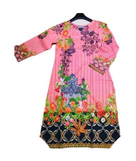 Women's Flower Printed Pink Kurti
