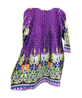 Women's Flower Printed Purple Kurti