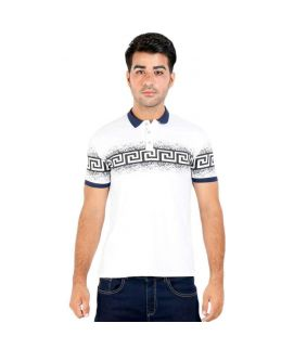 White Polo Shirt With Black Prints For Men