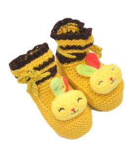 Baby Cartoon Printed Yellow Shoes