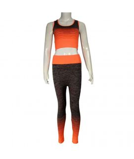 2 Piece Mesh Stretchy Training Suit Orange