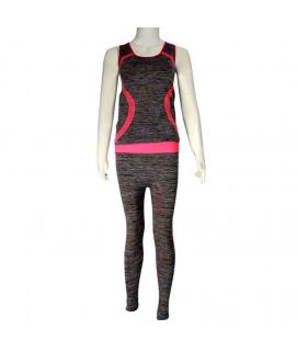 2 Piece Mesh Stretchy Training Suit Pink & Grey